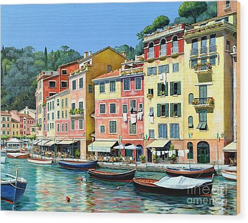 Wood Print featuring the painting Portofino Sunshine 30 X 40 by Michael Swanson