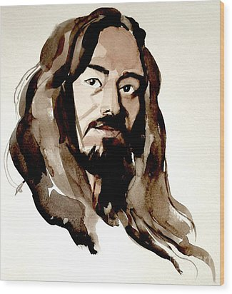 Watercolor Portrait Of A Man With Long Hair Wood Print by Greta Corens