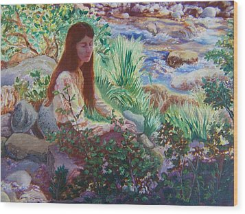 Portrait By The Stream Wood Print by Dawn Senior-Trask