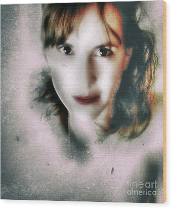 Portrait In Antonym  Wood Print by Steven Digman