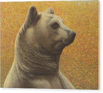 Portrait Of A Bear Wood Print by James W Johnson