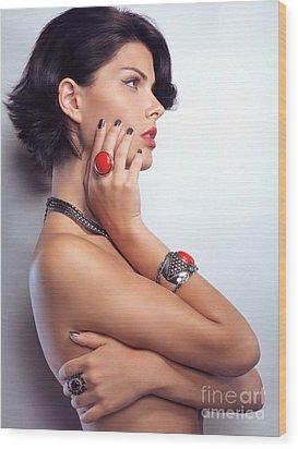 Portrait Of A Beautiful Woman Wearing Jewellery Wood Print by Oleksiy Maksymenko