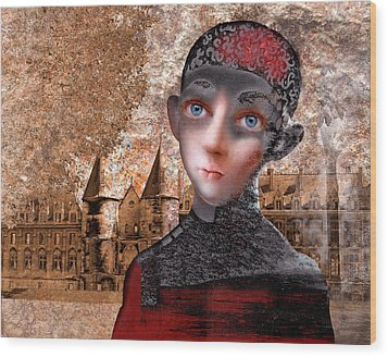 Portrait Of A Boy With A Castle In The Background. Wood Print by Ilir Pojani