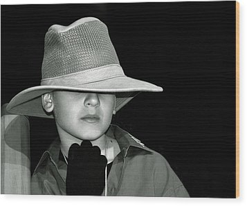 Portrait Of A Boy With A Hat Wood Print