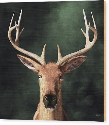 Wood Print featuring the digital art Portrait Of A Buck by Daniel Eskridge
