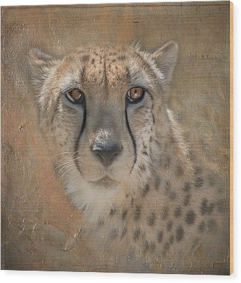 Portrait Of A Cheetah Wood Print