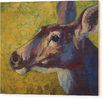 Portrait Of A Doe Wood Print by Marion Rose