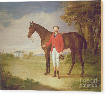 Portrait Of A Gentleman With His Horse Wood Print by English School