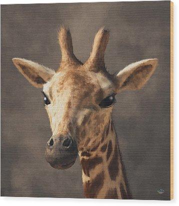 Wood Print featuring the digital art Portrait Of A Giraffe  by Daniel Eskridge