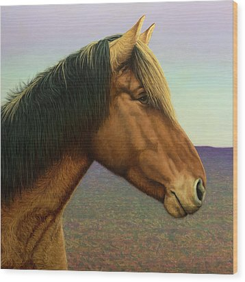 Portrait Of A Horse Wood Print by James W Johnson