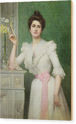 Portrait Of A Lady Holding A Fan Wood Print by Jules-Charles Aviat