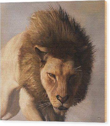 Wood Print featuring the digital art Portrait Of A Lion by Daniel Eskridge