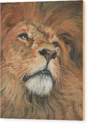 Wood Print featuring the painting Portrait Of A Lion by David Stribbling