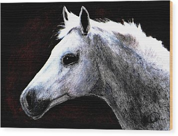 Portrait Of A Pale Horse Wood Print by Angela Davies