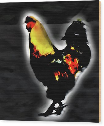 Portrait Of A Rooster Wood Print