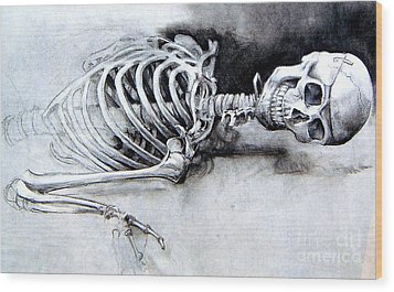 Portrait Of A Skeleton Wood Print by Linda Shackelford