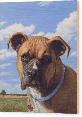Wood Print featuring the painting Portrait Of A Sweet Boxer by James W Johnson