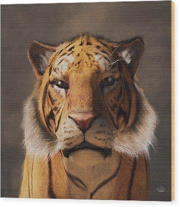 Wood Print featuring the digital art Portrait Of A Tiger by Daniel Eskridge