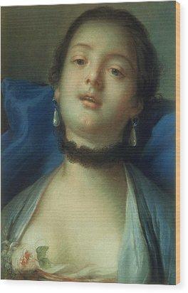 Portrait Of A Woman  Wood Print by Francois Boucher