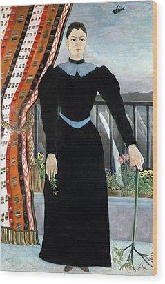 Portrait Of A Woman Wood Print by Henri Rousseau