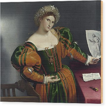 Portrait Of A Woman Inspired By Lucretia Wood Print by Lorenzo Lotto