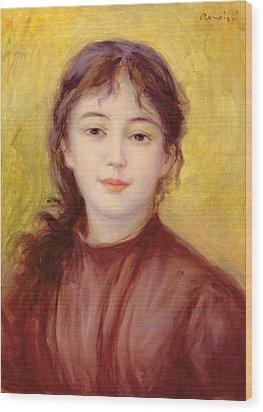 Portrait Of A Woman Wood Print by Pierre Auguste Renoir