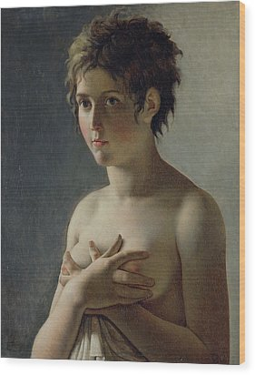 Portrait Of A Young Girl Wood Print by Baron Pierre Narcisse Guerin