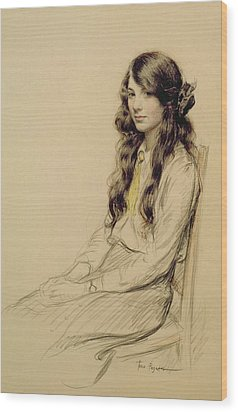 Portrait Of A Young Girl Wood Print by Frederick Pegram