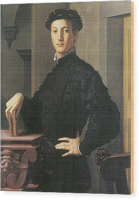 Portrait Of A Young Man Wood Print by Agnolo Bronzino