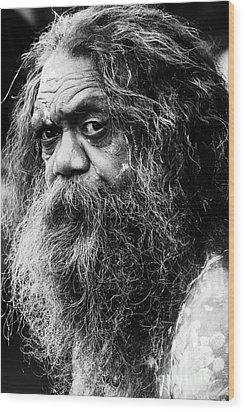 Portrait Of An Australian Aborigine Wood Print by Sheila Smart Fine Art Photography