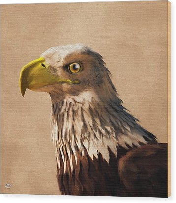 Wood Print featuring the digital art Portrait Of An Eagle by Daniel Eskridge