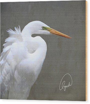 Portrait Of An Egret Signed Wood Print