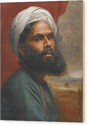 Wood Print featuring the painting Portrait Of An Indian Sardar by Edwin Frederick Holt