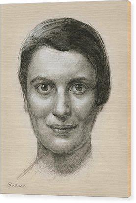 Portrait Of Ayn Rand Wood Print by Ifat Glassman