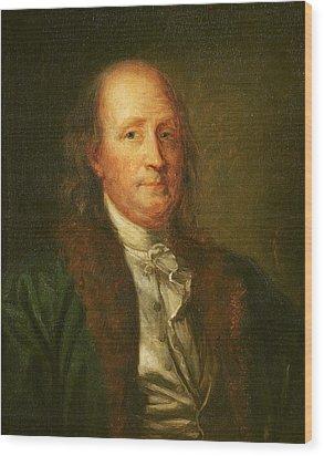 Portrait Of Benjamin Franklin Wood Print by George Peter Alexander Healy