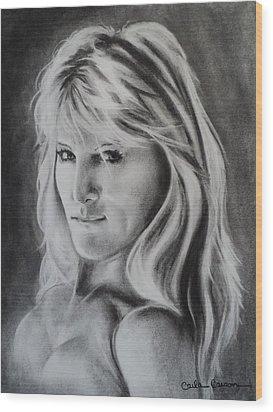 Portrait Of  Carla Wood Print by Carla Carson