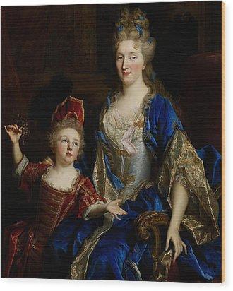 Portrait Of Catherine Coustard Wood Print by Nicolas de Largilliere