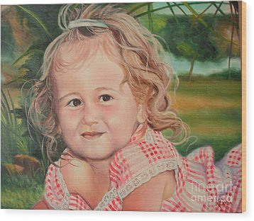 Wood Print featuring the painting Portrait Of Child by Sorin Apostolescu