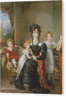 Portrait Of Elizabeth Lea And Her Children Wood Print by John Constable