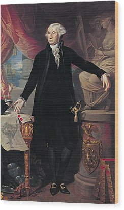 Portrait Of George Washington Wood Print by Joes Perovani