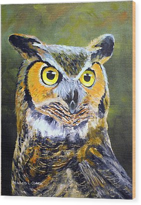 Portrait Of Great Horned Owl Wood Print by Dennis Clark