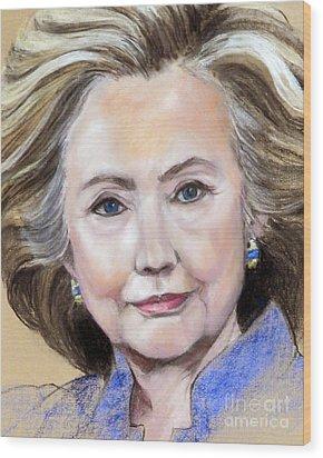 Pastel Portrait Of Hillary Clinton Wood Print by Greta Corens