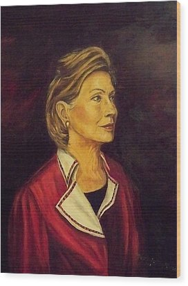 Portrait Of Hillary Clinton Wood Print by Ricardo Santos-alfonso