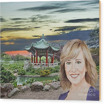 Portrait Of Jamie Colby By The Pagoda In Golden Gate Park Wood Print by Jim Fitzpatrick