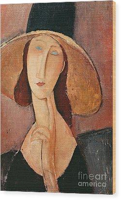 Portrait Of Jeanne Hebuterne In A Large Hat Wood Print by Amedeo Modigliani