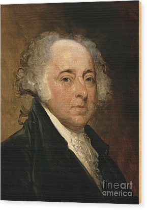 Portrait Of John Adams Wood Print by Gilbert Stuart