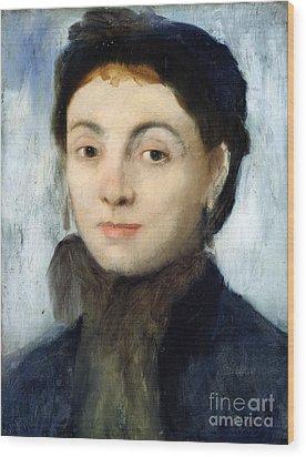 Portrait Of Josephine Gaujelin Wood Print by Edgar Degas