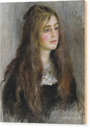 Portrait Of Julie Manet  Wood Print by Pierre Auguste Renoir