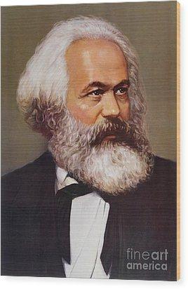 Portrait Of Karl Marx Wood Print by Unknown