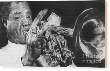 Portrait Of Louie Armstrong Wood Print by Carrie Jackson
